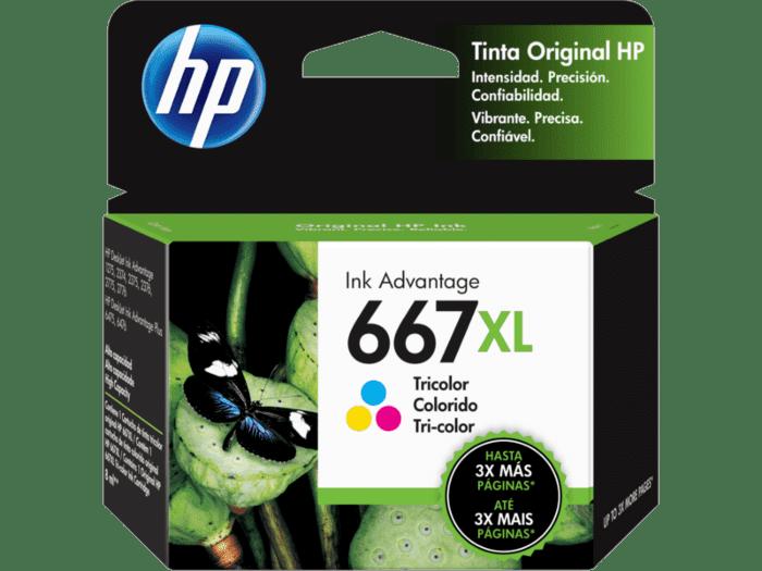 Cartucho de Tinta HP 667XL Tricolor Adventage de Alto Rendimiento Original