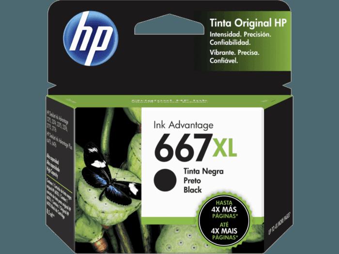 Cartucho de Tinta HP 667XL Negro Adventage de Alto Rendimiento Original