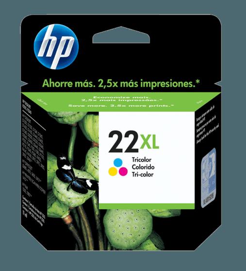 Cartucho de Tinta HP 22XL Tricolor de Alto Rendimiento Original