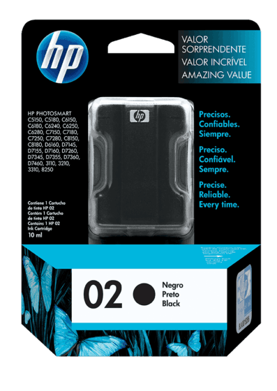 Cartucho original de tinta negra HP 02