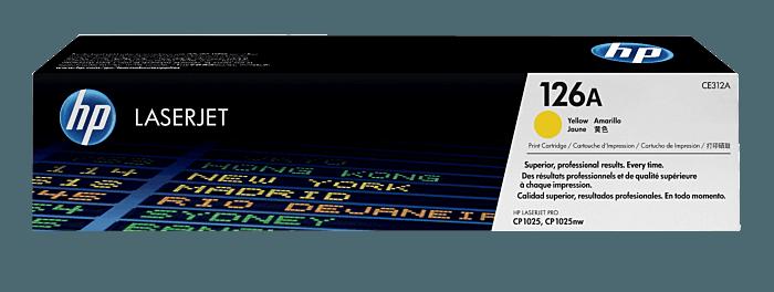 Cartucho original de tóner amarillo HP 126A LaserJet
