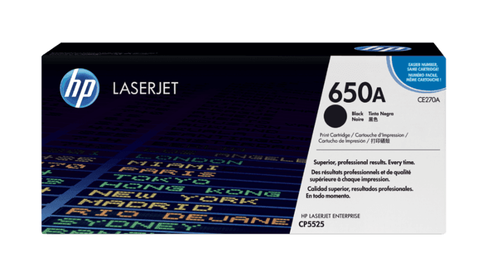Cartucho original de tóner negro HP 650A LaserJet