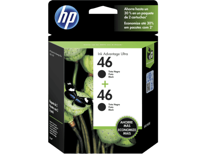 Pack de Ahorro de 2 Cartuchos de Tinta HP 46 Negro Advantage Original