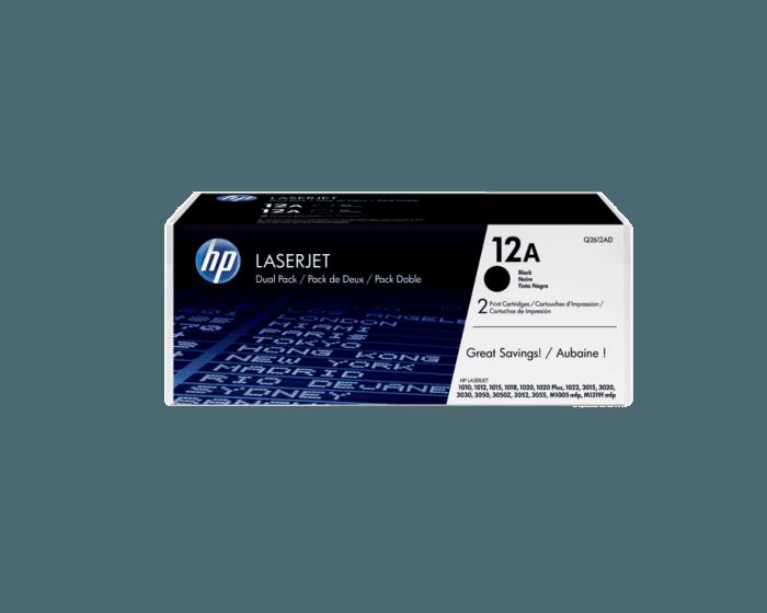 Paquete de 2 Cartuchos de Tóner HP 12A Negro LaserJet Originales