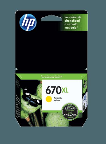 Cartucho de Tinta HP 670XL Amarillo Original