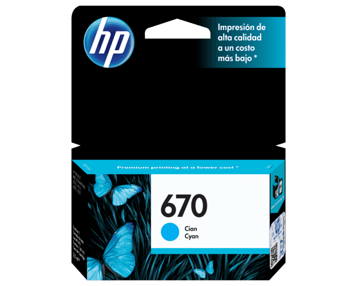 Cartucho de Tinta HP 670 Cian Original